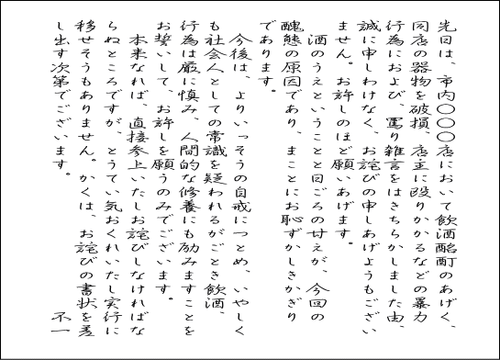 お詫び状 例文