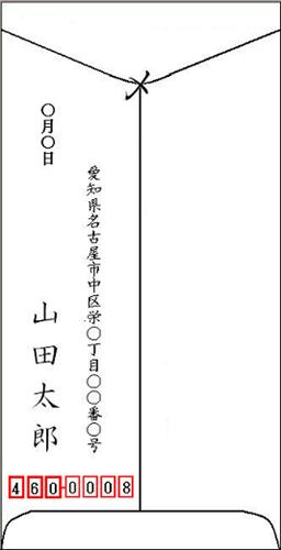封筒の裏書きレイアウトサンプル・見本